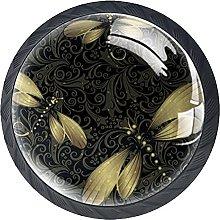 Set of 4 Vintage Black Gold Butterfly Cabinet