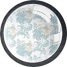 Set of 4 Vintage Blue Floral Cabinet Knobs Handles
