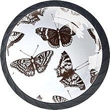 Set of 4 Vintage Butterflies Cabinet Knobs Handles