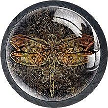 Set of 4 Vintage Dragonfly Cabinet Knobs Handles
