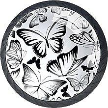 Set of 4 Vintage Drawing Black Butterflies Cabinet