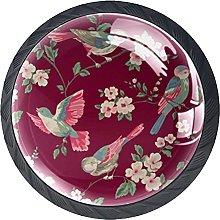 Set of 4 Vintage Floral and Bird Cabinet Knobs