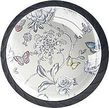 Set of 4 Vintage Floral Butterflies Pattern