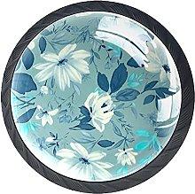 Set of 4 Vintage Floral Teal Pattern Cabinet Knobs