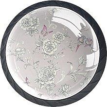 Set of 4 Vintage Grey Floral Birds Pattern Cabinet