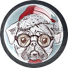 Set of 4 Vintage Hipster Santa Pug Dog with