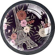 Set of 4 Vintage Paris Eiffel Tower Floral Cabinet