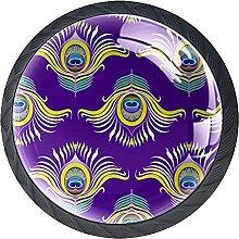 Set of 4 Vintage Peacock Feathers Purple Pattern