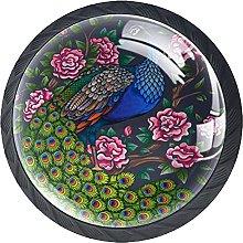 Set of 4 Vintage Peacock Flower Cabinet Knobs