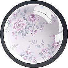 Set of 4 Vintage Pink Floral and Bird Pattern