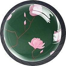Set of 4 Vintage Pink Roses Floral Pattern Cabinet