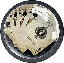 Set of 4 Vintage Poker Cards Game Pattern Cabinet