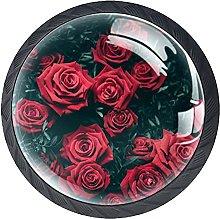 Set of 4 Vintage Red Roses Cabinet Knobs Handles