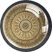 Set of 4 Vintage Royal Golden Mandala Cabinet