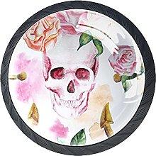 Set of 4 Vintage Skull and Flowers Cabinet Knobs