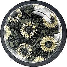 Set of 4 Vintage Sunflowers Cabinet Knobs Handles