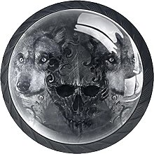 Set of 4 Vintage Wolf with Skull Cabinet Knobs