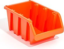 Set of 5 XL extra large orange plastic storage bin
