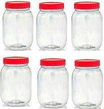 Set of 6 1000ml Red Top Plastic Food Storage