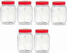 Set of 6 750ml Red Top Plastic Food Storage