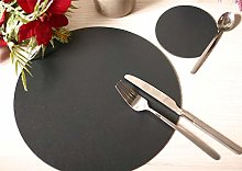 Set of 6 Charcoal Elementary Round Leatherboard