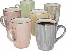 Set of 6 coffee mugs, modern art I stripes,