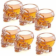 Set of 6 Skull Shaped Clear Glass Novelty 2.8 oz