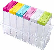Set of 6 Spice Shaker Box, Transparent Plastic