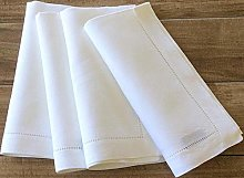 Set of 6 White 100% Cotton Hemstitch Napkins