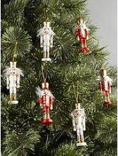 Set Of 6 Wooden Nutcracker Christmas Tree Ornaments