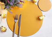 Set of 8 Elementary Mustard Leatherboard Round