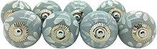Set of 8 Grey & White Fusion Ceramic Door Knobs