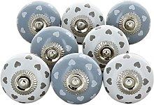 Set of 8 White Grey Hearts Ceramic Door Knobs