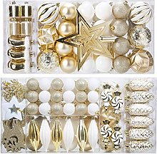 Set of 88 Christmas Baubles in Gold and White