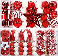 Set of 89 Christmas Baubles Red and White Assorted