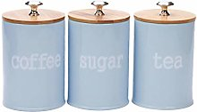 Set of Food Storage Canister with Airtight Wooden