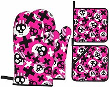 Set of Oven Mitts,Bold Painted Funky Skulls Oven