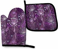 Set of Oven Mitts,Dandelion Flowers Purple Oven