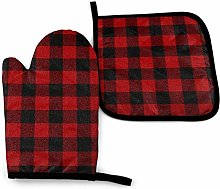 Set of Oven Mitts,Red Black Plaid Cooking Mitts