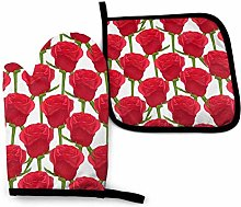 Set of Oven Mitts,Red Roses Flowers Oven Mitts