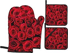 Set of Oven Mitts,Red Roses Oven Mitts