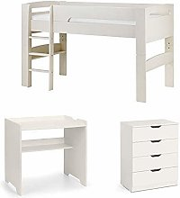 SET OF PLUTO STONE WHITE MIDSLEEPER, DESK AND 4