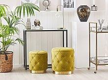 Set of Storage Pouffes Mustard Polyester Velvet