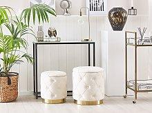 Set of Storage Pouffes White Polyester Velvet