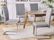 Set of Upholstered Chairs Grey Faux Leather