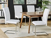 Set of Upholstered Chairs Off-White Faux Leather