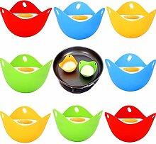 SevenMye 8Pcs Silicone Egg Poacher Cups Pan