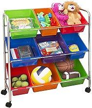 Seville Classics 9-Bin Organizer Cart, Multicolor,