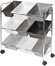 Seville Classics Cart, Steel, Gradient Gray, 9 Bin