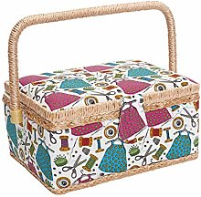 Sewing Basket with Compartment,Wooden Sewing